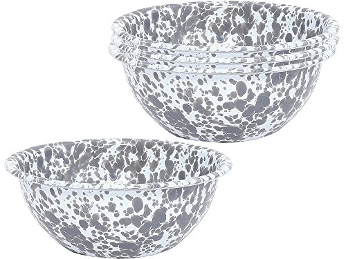 Enamelware - Set of 4 - Cereal Bowl - Grey Marble by Crow Canyon Home (Image #1)