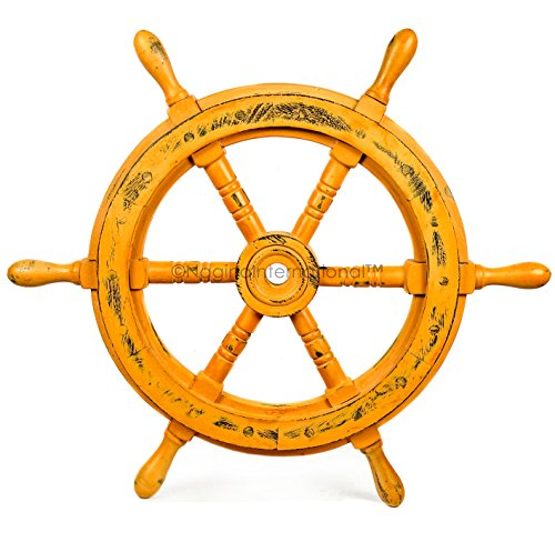 Nagina International 36″ Antique Brown Authentic Wood Crafted Nautical Ship Wheel | Home Decor for Wall & Arts | Pirate Maritime Marine Wheel Review