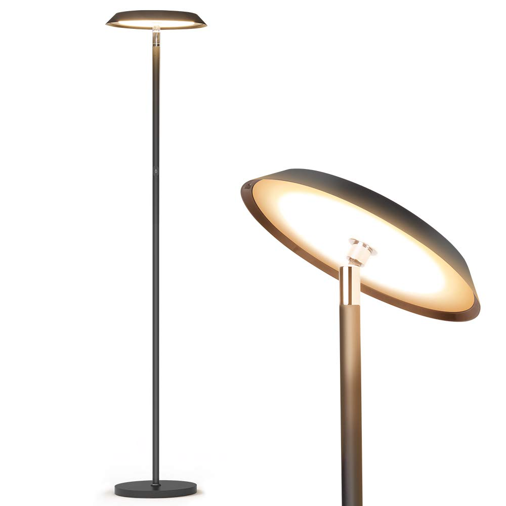 Floor lamp, Lamps for Living Room, LED Dimmable Modern Tall Standing Pole Light, TECKIN Touch Control Reading Light for Bedrooms Offices,3000K Warm White, 20W, Black by TECKIN