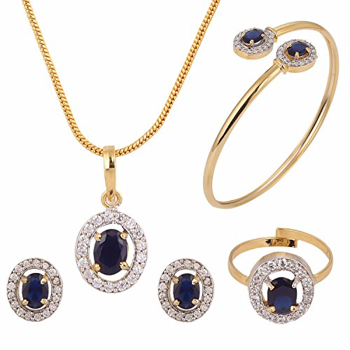 (Efulgenz Fashion Jewelry Set Halo Oval Cubic Zirconia Crystal Pendant Necklace Set with Earrings, Bracelet and Ring for Women and Girls Brides and Bridesmaid)