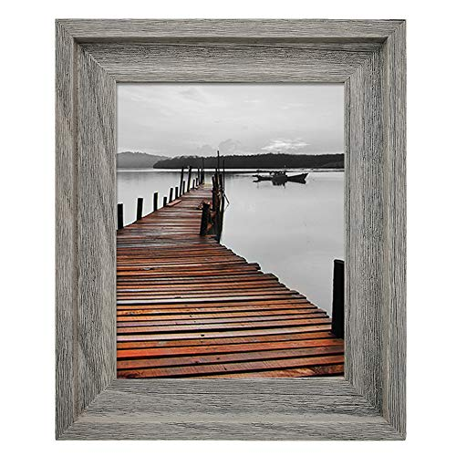 Eosglac Rustic 8x10 Picture Frame, Solid Wood with Glass Front, Wall Mounting or Tabletop, Weathered Grey (Wood Weathered Grey)