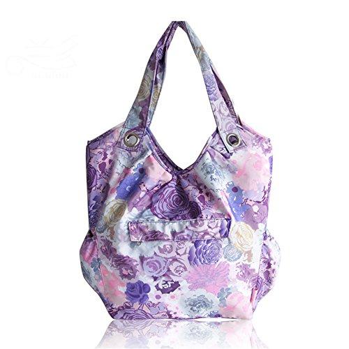 Kangming multifunción bebé pañal bolsa de pañales flores Mummy bolso para las mujeres morado morado morado