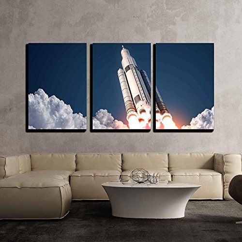 Space Launch System Takes Off 3D Scene x3 Panels