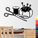 StikEez Black Large 30'' Sewing Tools Fun Decal w/ Pin Cushion Scissors Thread