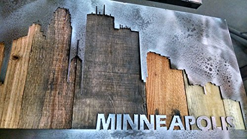 Minneapolis Cityscape - Minnesota Art - 14''x45'' - or CUSTOMIZE IT - Metal Art - Reclaimed Wood and Aged Steel - by Legendary Fine Art by LegendaryFineArt