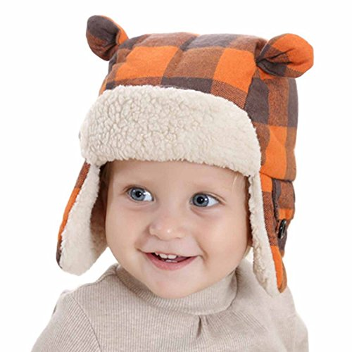 Happy Cherry Baby Boy Girl Toddler Child Kids Fashion Cute Hat Autumn Winter Warm Plaid Cap Fleece Fluffy Ear Flap Hat 4-8Yrs, Orange (Striped Flap Hat)