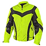 Xelement CF-6019-66 Invasion Mens Neon Green Mesh Armored Motorcycle Jacket - 4X-Large
