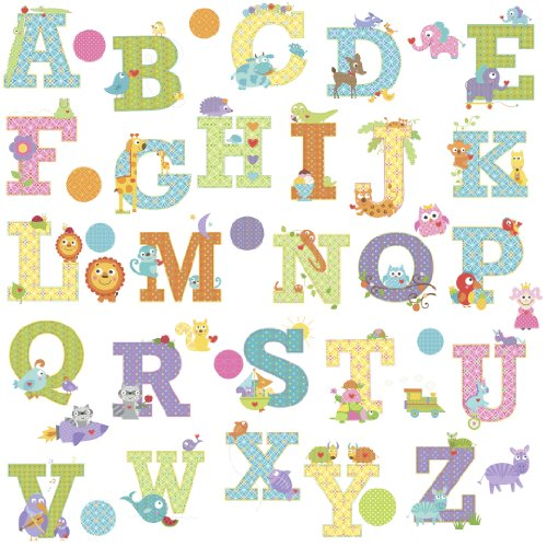 Decals Appliques Wall (RoomMates RMK2334SCS  Animal Alphabet Dena Designs Peel and Stick Wall Decals)
