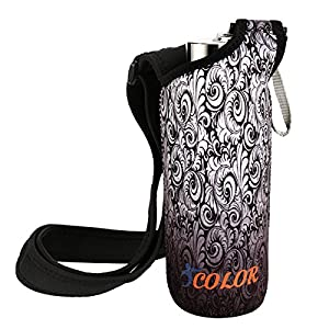 "ICOLOR Neoprene Bottle Holder, Adjustable Bottle Carrier w/ Shoulder strap,Sling insulated Sports Water Bottle bag Case Pouch Cover,Fits Bottle w/ the diameter less than 2.75 "" (WBC-003)"