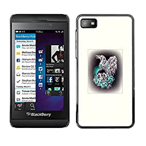 Paccase / SLIM PC / Aliminium Casa Carcasa Funda Case Cover - Bird Prey Hawk Skull Poster White - Blackberry Z10