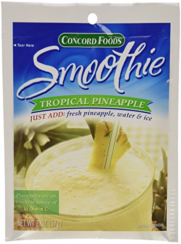 Concord Foods Tropical Pineapple Smoothie Mix, 2-Ounce Pouch (VALUE Pack of 18 Pouches)