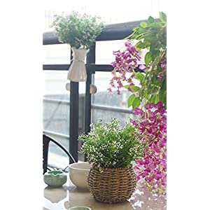 Artificial Fake Flowers Plants, 4pcs Outdoor UV Resistant Faux Green Greenery Fake Plastic Flowers Shrubs Plants Indoor Outside Hanging Planter Home Garden Wedding Décor (White) 3