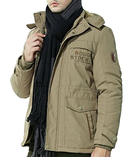 Khaki Thick Outdoor amp;S amp;W Warm Coat Men's Solid M Cotton Outwear Hooded Pz4ngz