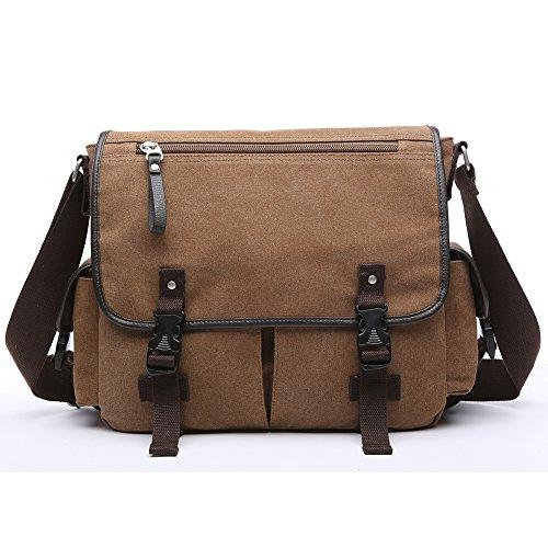Toupons Men's Canvas Messenger Bag Shoulder Bag Satchel Fits Laptop up to 13.3 inch (Brown)