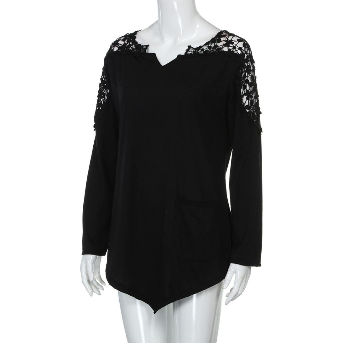 Anxinke Womens Lace Patchwork Hollow Out Long Sleeve Shirts Top V Neck Curved Hem Blouse Plus Size (Black, 7XL) by Anxinke Women Blouse (Image #5)
