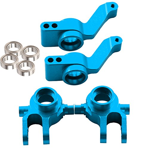 Yiguo Rear Knuckle Arm & Steering Hub Carrier & Ball Bearing Kit for 1:10 RC Car TRAXXAS SLASH 4X4 Blue