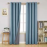 Deconovo Total Blackout Curtains Pair 84 inch Long Thermal Insulated Grommet Sun Blocking Curtains for Bedroom Teal 52W x 84L inch 2 Panels