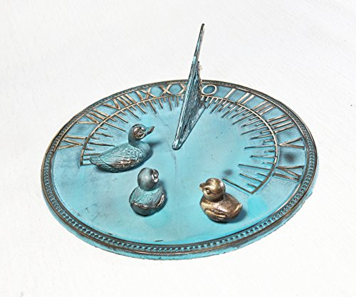 Brass Sundial 8'' Inches Wide - With 3 Little Ducks by Taiwan