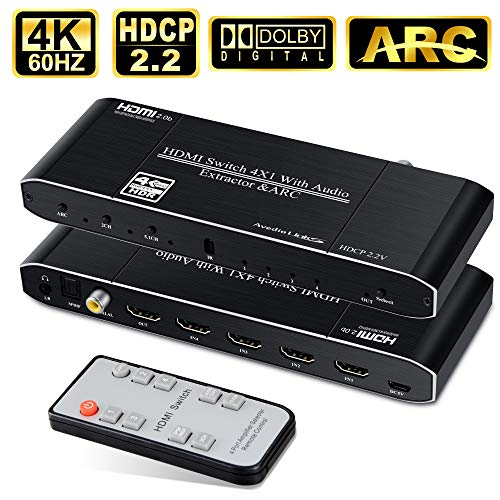 HDMI Switch 4 in 1 Out with Toslinkl/Coaxial/3.5mm Audio Out, avedio links 4K@60Hz 4-Port HDMI hdmi switcher Audio Extractor, Support HDMI2.0b, HDCP 2.2, ARC, for Xbox, PS4,Blu-Ray Player