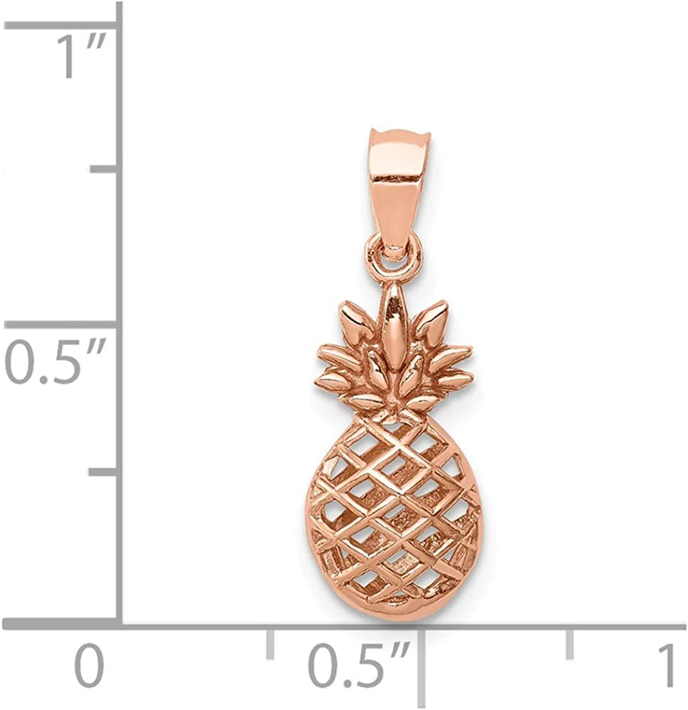 14k Rose Gold Rose Polished 3D Pineapple Pendant