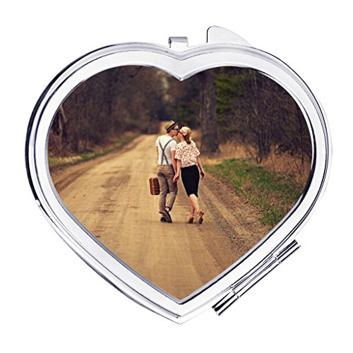 (Personalized Custom Your Own Photo/Text Compact Mirrors, Stainless Steel Foldable Pocket Size Travel Mirrors Makeup Cosmetic Personal Hand Mirror, Great Keepsake Birthday Christmas Gift (Heart Shape))
