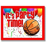 BASKETBALL Party INVITATIONS (Red, 4.25''x5.5'') 12-PACK Postcard Party Invitation Stationery for players, coaches and fans birthday parties, team parties and special events! #AllProfitsToHelpKids
