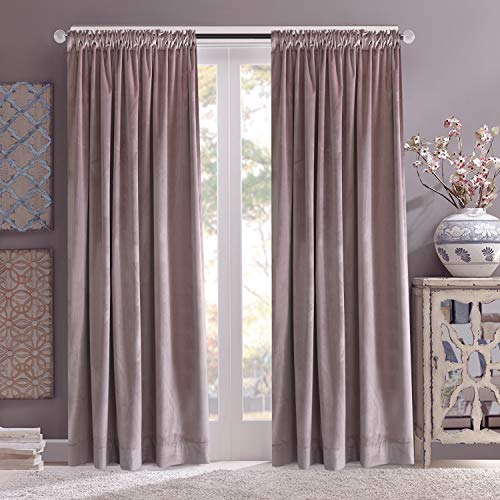 Roslynwood Block Velvet Rod Pocket Curtains - Elegant Interior Decoration Large Window Blackout Velvet Drapes for Living Room, 52