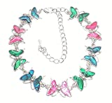 Genuine Paua Shell Butterfly Anklet - Multi Colored