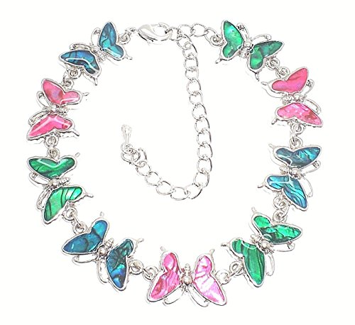 Genuine Paua Shell Butterfly Anklet - Multi - Butterfly Paua Shell