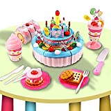 Dtemple Children Triple-Layer Pretend Play Cake Set Toys Party Cake with Candles Musical Blue