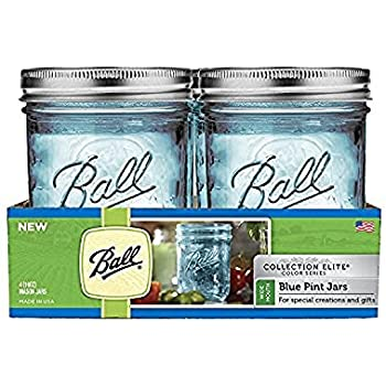 Ball Mason Jar Aqua Blue Glass Ball Collection Elite Color Series Wide Mouth Set of 2 (2, Wide Mouth Pint - 16oz)