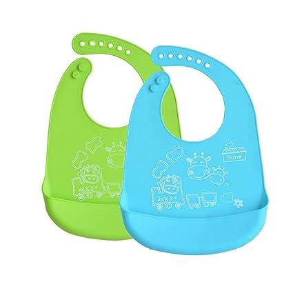 INCHANT silicona resistente al agua babero Toallitas limpiar fácilmente! Cómodas para bebés baberos suaves mantienen