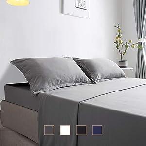 Gonk Bedding Sets Full Size Bed Sheets Set Microfiber Bed Sheet Deep Pocket Cooling Super Soft Wrinkle Free (Gray, 4PC)