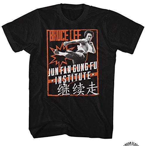 American Classics Bruce Lee Martial Artist Icon Jun Fan Gung Fu Institute Pow Adult T-Shirt Tee (Jun Fan Gung Fu Institute T Shirt)