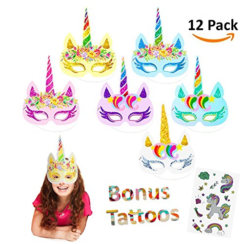Price comparison product image Vindyeer 12pcs Rainbow Unicorn Mask Kids Birthday Unicorn Party Favors with Extra Unicorn Temporary Tattoos