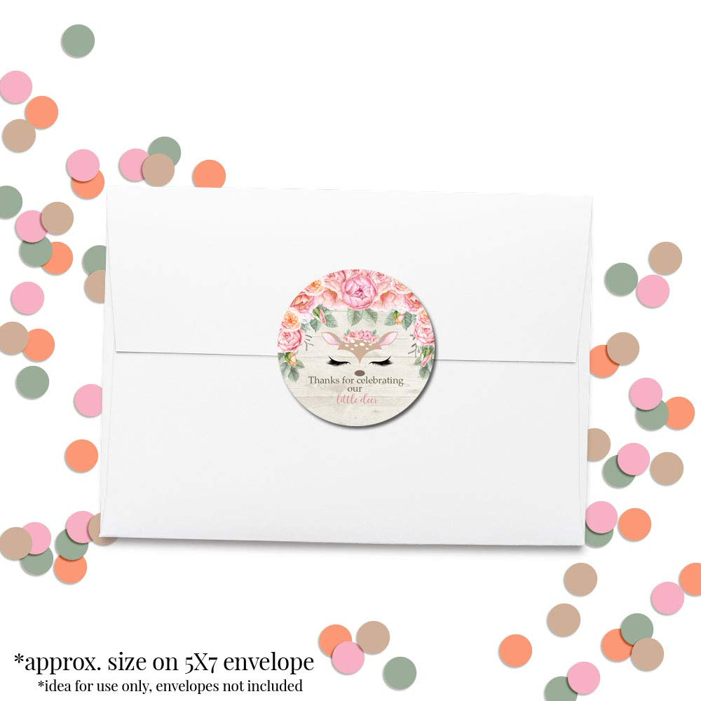 Deer Face Watercolor Floral Little Deer Thank You Sticker Labels for Girls, 40 2'' Party Circle Stickers by AmandaCreation, Great for Party Favors, Envelope Seals & Goodie Bags by Amanda Creation (Image #4)