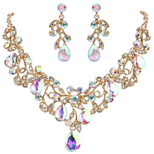- BriLove Women's Bohemian Boho Statement Necklace Dangle Earrings Jewelry Set with Crystal Hollow Filigree Vine Leaf Iridescent AB Gold-Tone