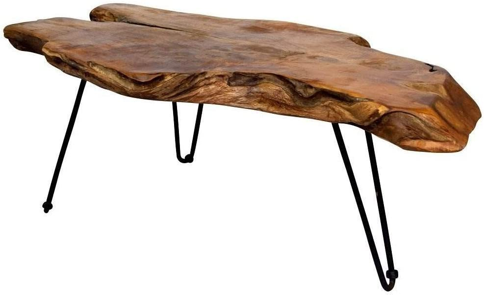 Amazon Com Anya Niki Stylecraft Badang Carving Natural Wood Edge Teak Contemporary Coffee Cocktail Table With Clear Lacquer Finish And Metal Hairpin Legs For Living Room Furniture Decor