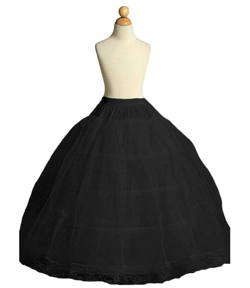 Dobelove Girls 3 Hoops Full Slip Crinoline Petticoat Skirt Black)