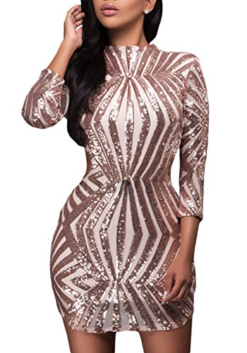 made2envy Sequin Detail Open Back Party Mini Dress (S, Gold) LC22891GS