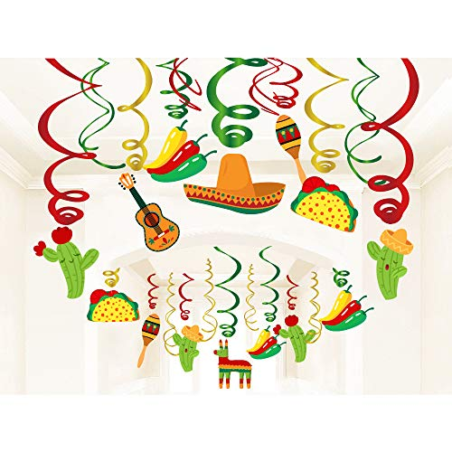 Kristin Paradise 30Ct Mexican Hanging Swirl Decorations, Fiesta Cinco De Mayo Party Supplies, Taco Twosday Birthday Theme, First 1st Boys Girls Baby Shower Paper Decor, Sombrero Cactus Kids Favors ()