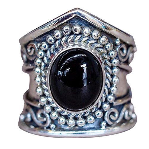 Muranba Boho Jewelry Silver Natural Gemstone Marquise Moonstone Personalized Ring (Black, -