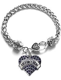 Air Force Mom Pave Heart Charm Bracelet
