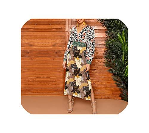 Multicolor Mixed Scarf Print Tie Waist Split Side Dress Wrap V-Neck Fit and A Line Bohemian Dresses,Multi,L