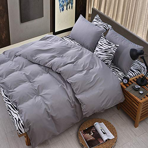 ASOBIMONO Bed Sheets 4 Piece Set, Extra Soft Hotel Luxury Pillow Cases, Flat Sheet, Duvet Cover for Comforter, Deep Pockets & Hypoallergenic, All Season Used, US Stock (Gray, Queen)