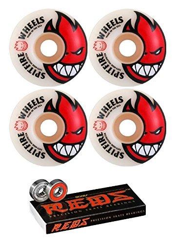Spitfire 52mm Wheels Bighead White / Red Skateboard Wheels - 99a with Bones Bearings - 8mm Bones Reds Precision Skate Sk
