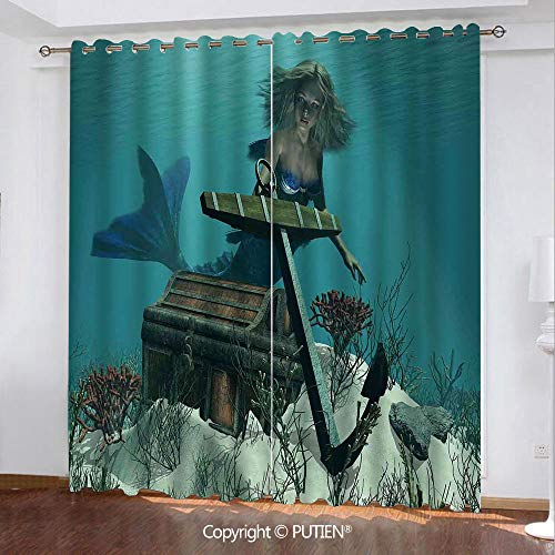 Satin Grommet Window Curtains Drapes [ Mermaid,Mermaid in the Ocean Sea Discovering Pirates Treasure Chest Mythical Art Print,Azure Brown Cream ] Window Curtain for Living Room Bedroom Dorm Room Class