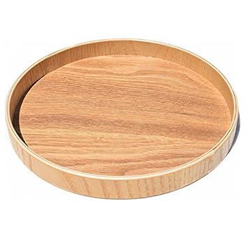 Super UD, bandeja de madera, decorativa, redonda, Otomana, para servir, bandeja para alimentos café o té, madera, Burlywood, extra-large: Amazon.es: Hogar