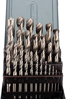 Juego de 25 brocas de acero HSS de 1 a 13 mm con caja de cartón: Amazon.es: Bricolaje y herramientas