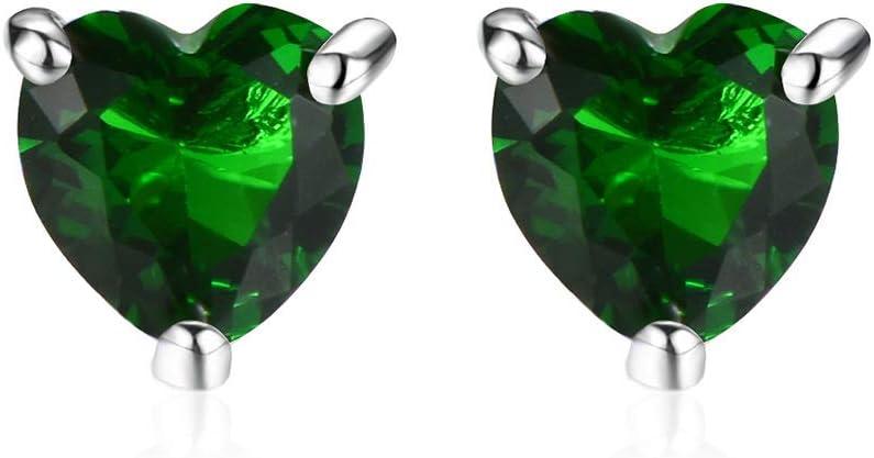 Pendientes Plateados de Platino con Piedras Preciosas para Mujer, 3 Pendientes con Forma de Garra Y Corazón, Pendientes Hipoalergénicos, Joyas Verdes, Joyas de Regalo,Verde,Como se muestra